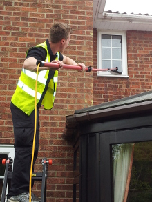 Cleaning windows above conservatory roof example Wickham Bishops